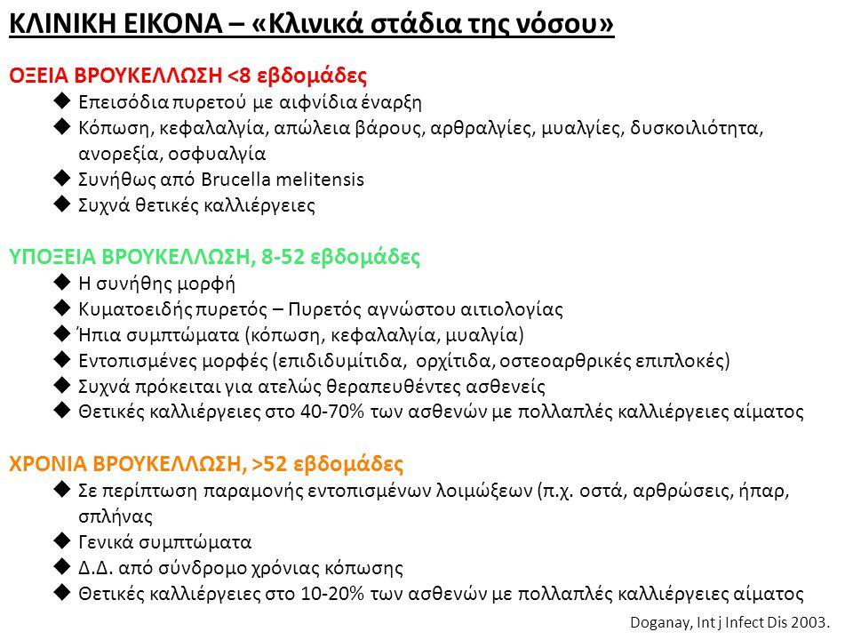 ΚΛΙΝΙΚΗ ΕΙΚΟΝΑ – «Κλινικά στάδια της νόσου» Doganay, Int j Infect Dis 2003. ΟΞΕΙΑ ΒΡΟΥΚΕΛΛΩΣΗ <8 εβδομάδες  Επεισόδια πυρετού με αιφνίδια έναρξη  Κό