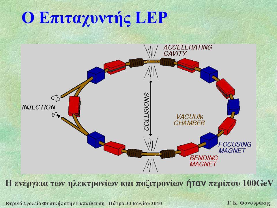 Θερινό Σχολείο Φυσικής στην Εκπαίδευση– Πάτρα 30 Ιουνίου 2010 Γ. Κ. Φανουράκης Ο Επιταχυντής LEP Η ενέργεια των ηλεκτρονίων και ποζιτρονίων ήταν περίπ