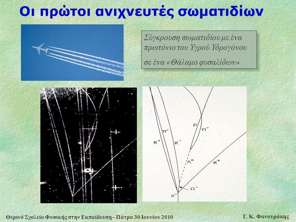 Θερινό Σχολείο Φυσικής στην Εκπαίδευση– Πάτρα 30 Ιουνίου 2010 Γ. Κ. Φανουράκης Οι πρώτοι ανιχνευτές σωματιδίων Σύγκρουση σωματιδίου με ένα πρωτόνιο το