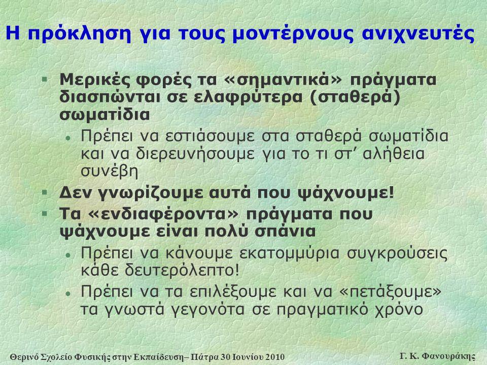 Θερινό Σχολείο Φυσικής στην Εκπαίδευση– Πάτρα 30 Ιουνίου 2010 Γ. Κ. Φανουράκης Η πρόκληση για τους μοντέρνους ανιχνευτές §Μερικές φορές τα «σημαντικά»