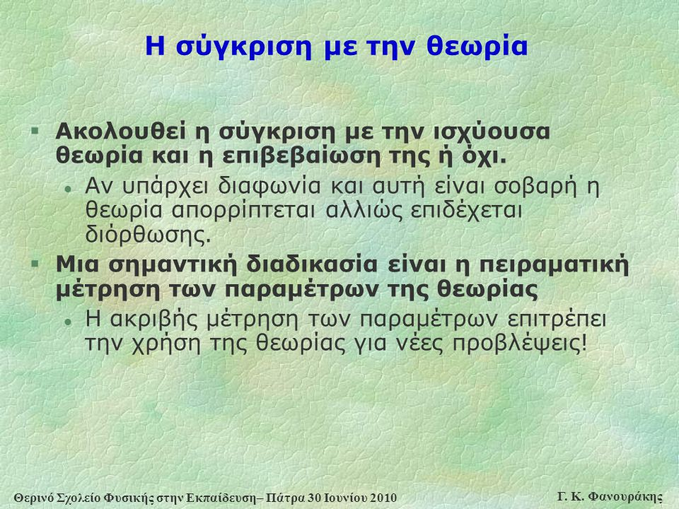 Θερινό Σχολείο Φυσικής στην Εκπαίδευση– Πάτρα 30 Ιουνίου 2010 Γ. Κ. Φανουράκης Η σύγκριση με την θεωρία §Ακολουθεί η σύγκριση με την ισχύουσα θεωρία κ
