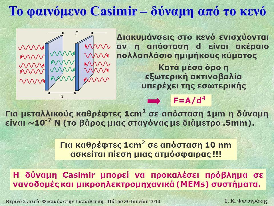 Θερινό Σχολείο Φυσικής στην Εκπαίδευση– Πάτρα 30 Ιουνίου 2010 Γ. Κ. Φανουράκης Το φαινόμενο Casimir – δύναμη από το κενό F=A/d 4 Διακυμάνσεις στο κενό