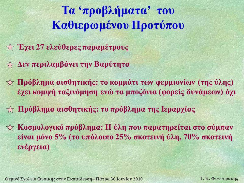 Θερινό Σχολείο Φυσικής στην Εκπαίδευση– Πάτρα 30 Ιουνίου 2010 Γ. Κ. Φανουράκης Τα 'προβλήματα' του Καθιερωμένου Προτύπου Έχει 27 ελεύθερες παραμέτρους