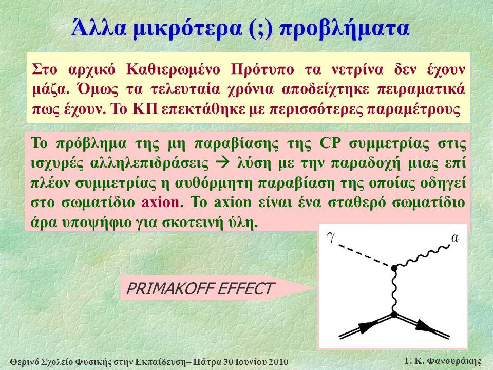 Θερινό Σχολείο Φυσικής στην Εκπαίδευση– Πάτρα 30 Ιουνίου 2010 Γ. Κ. Φανουράκης Άλλα μικρότερα (;) προβλήματα Στο αρχικό Καθιερωμένο Πρότυπο τα νετρίνα
