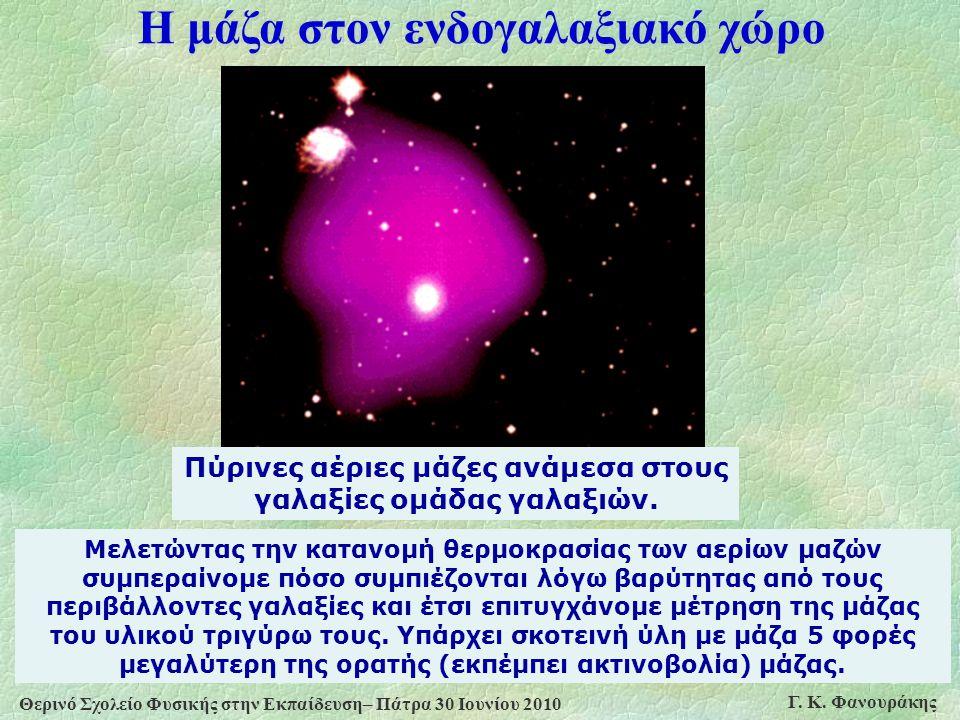 Θερινό Σχολείο Φυσικής στην Εκπαίδευση– Πάτρα 30 Ιουνίου 2010 Γ. Κ. Φανουράκης Πύρινες αέριες μάζες ανάμεσα στους γαλαξίες ομάδας γαλαξιών. Μελετώντας