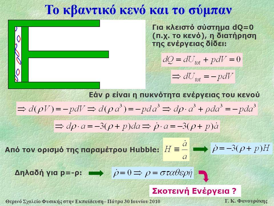 Θερινό Σχολείο Φυσικής στην Εκπαίδευση– Πάτρα 30 Ιουνίου 2010 Γ. Κ. Φανουράκης Το κβαντικό κενό και το σύμπαν Για κλειστό σύστημα dQ=0 (π.χ. το κενό),