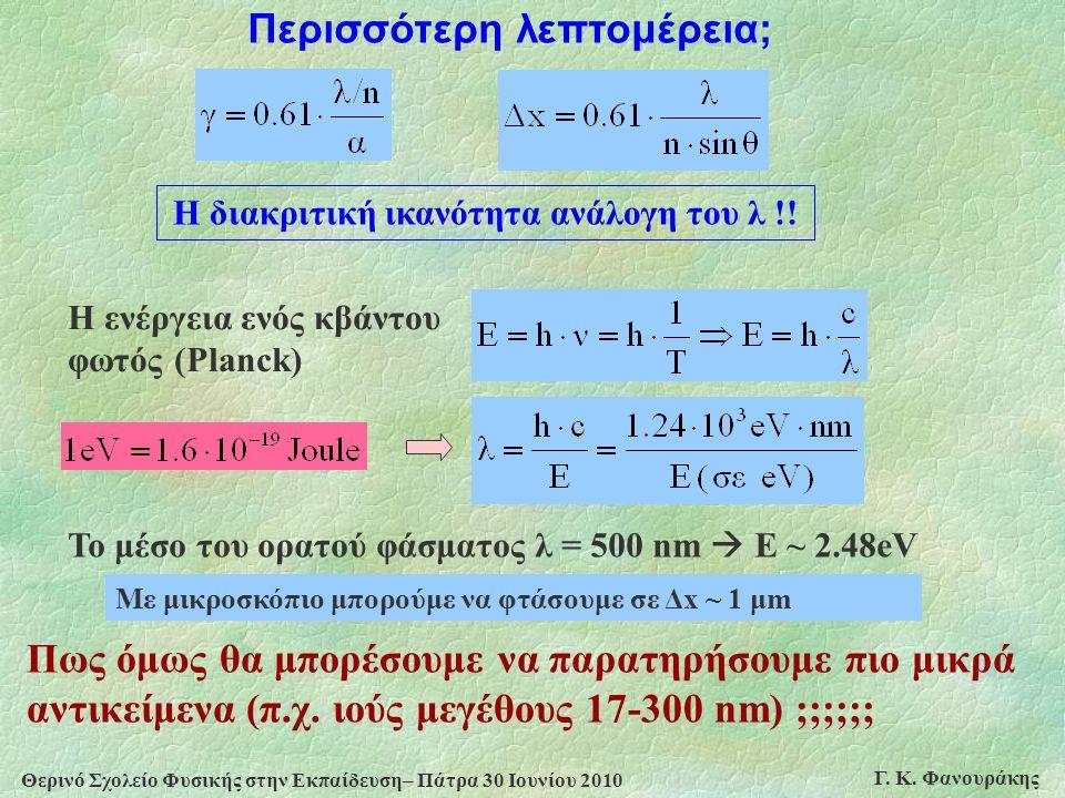 Θερινό Σχολείο Φυσικής στην Εκπαίδευση– Πάτρα 30 Ιουνίου 2010 Γ. Κ. Φανουράκης Το μέσο του ορατού φάσματος λ = 500 nm  Ε ~ 2.48eV Η ενέργεια ενός κβά