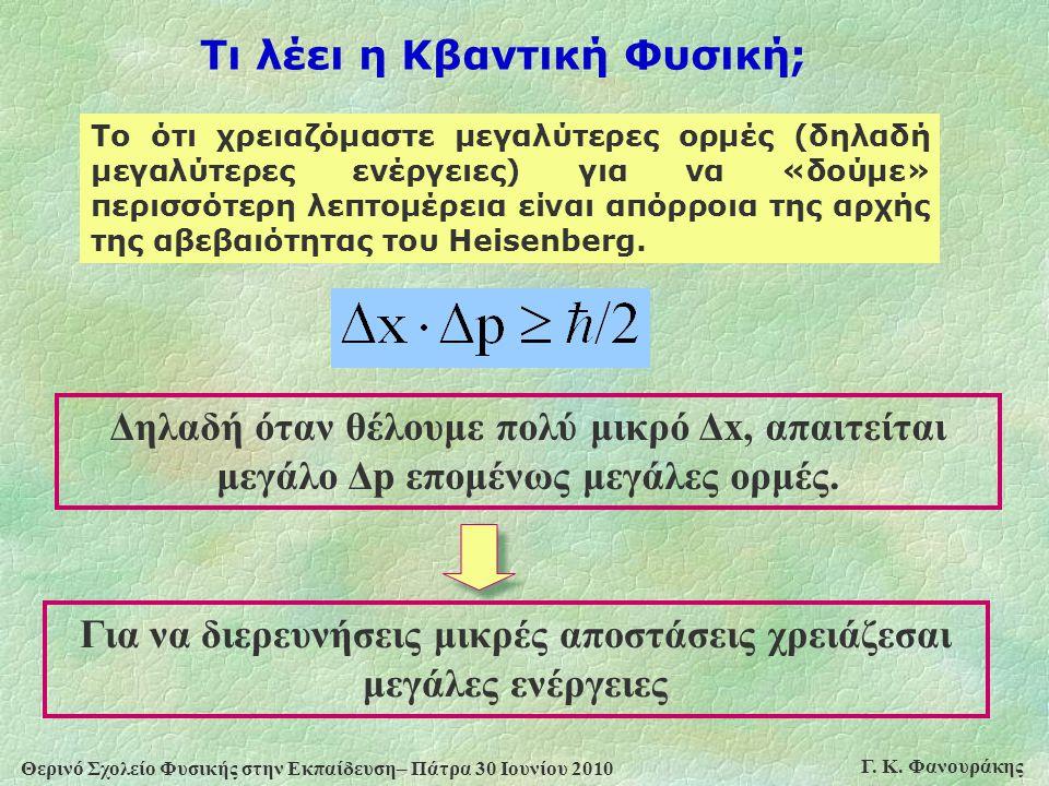 Θερινό Σχολείο Φυσικής στην Εκπαίδευση– Πάτρα 30 Ιουνίου 2010 Γ. Κ. Φανουράκης Το ότι χρειαζόμαστε μεγαλύτερες ορμές (δηλαδή μεγαλύτερες ενέργειες) γι