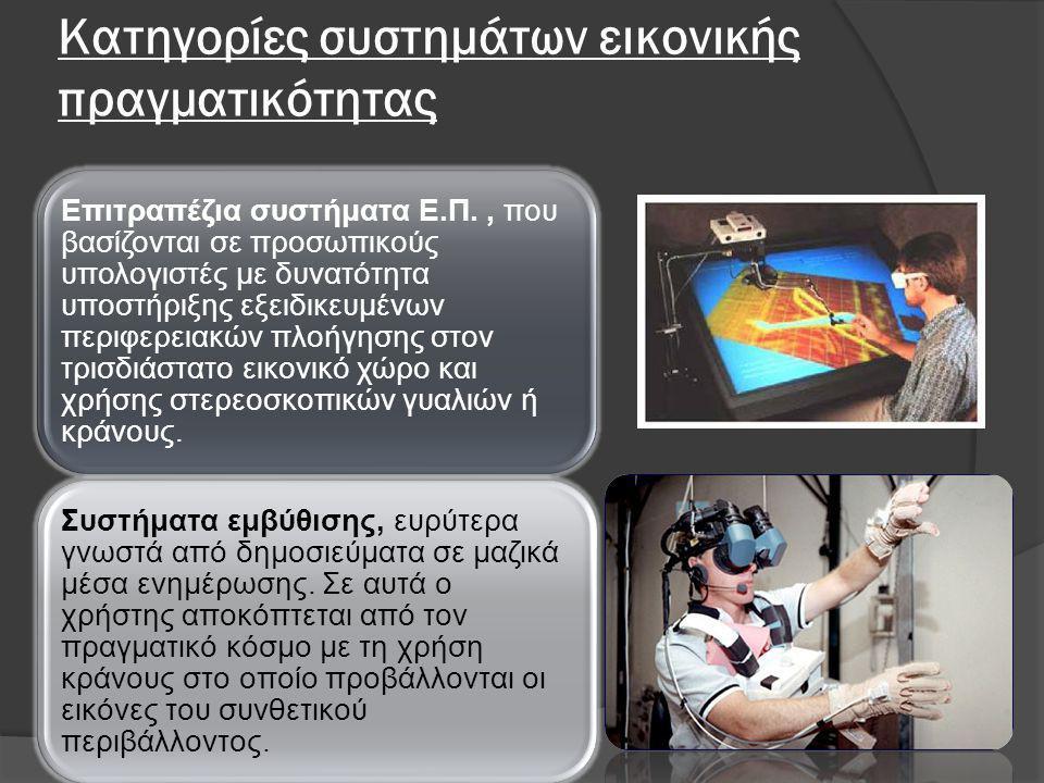 Κατηγορίες συστημάτων εικονικής πραγματικότητας Επιτραπέζια συστήματα Ε.Π., που βασίζονται σε προσωπικούς υπολογιστές με δυνατότητα υποστήριξης εξειδι