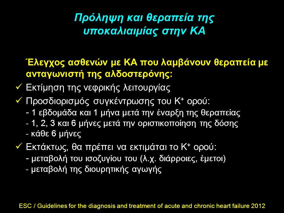 Πρόληψη και θεραπεία της υποκαλιαιμίας στην ΚΑ Έλεγχος ασθενών με ΚΑ που λαμβάνουν θεραπεία με ανταγωνιστή της αλδοστερόνης: Εκτίμηση της νεφρικής λει
