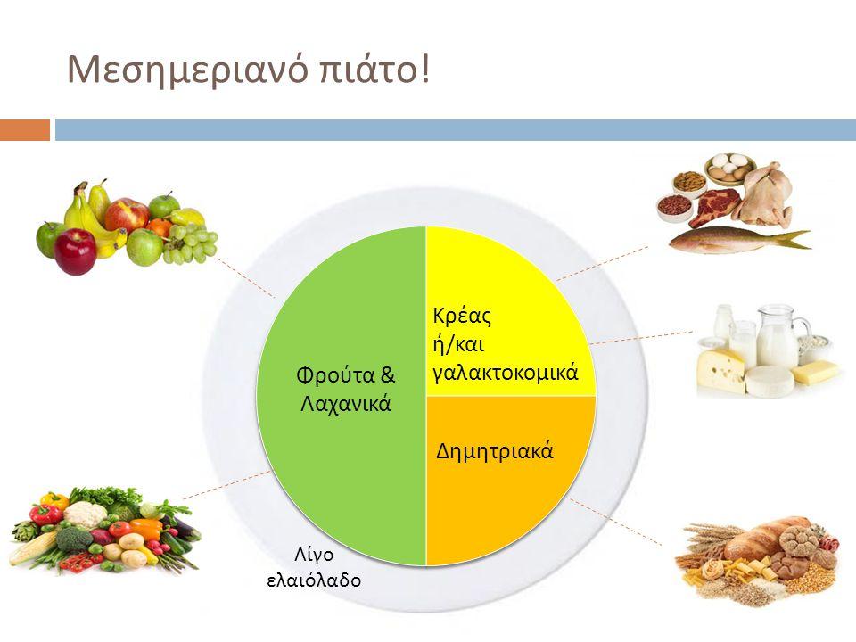 Μεσημεριανό πιάτο ! Κρέας ή / και γαλακτοκομικά Δημητριακά Φρούτα & Λαχανικά Λίγο ελαιόλαδο