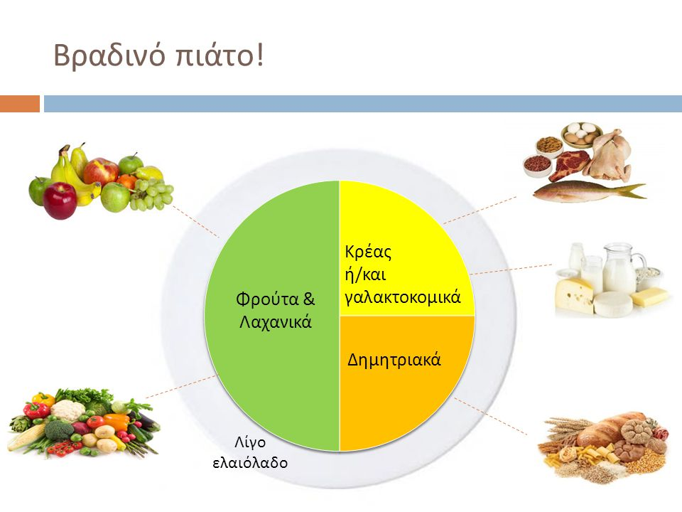 Βραδινό πιάτο ! Κρέας ή / και γαλακτοκομικά Δημητριακά Φρούτα & Λαχανικά Λίγο ελαιόλαδο