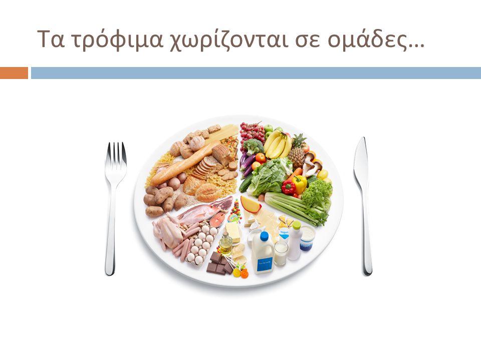 Τα τρόφιμα χωρίζονται σε ομάδες …