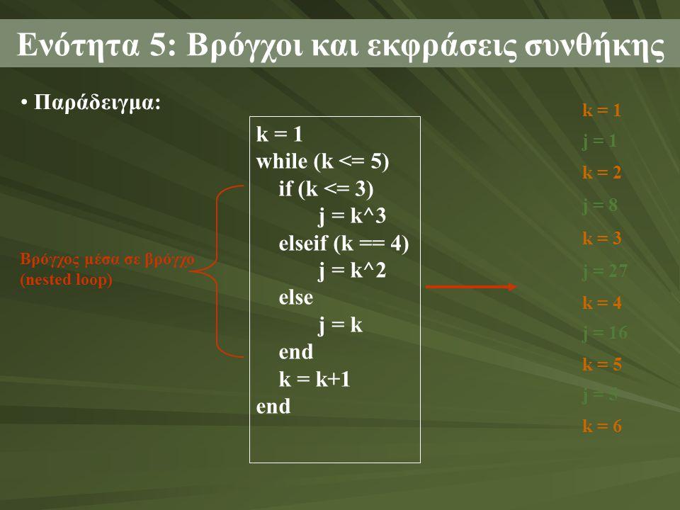 Παράδειγμα: Ενότητα 5: Βρόγχοι και εκφράσεις συνθήκης k = 1 while (k <= 5) if (k <= 3) j = k^3 elseif (k == 4) j = k^2 else j = k end k = k+1 end Βρόγχος μέσα σε βρόγχο (nested loop) k = 1 j = 1 k = 2 j = 8 k = 3 j = 27 k = 4 j = 16 k = 5 j = 5 k = 6