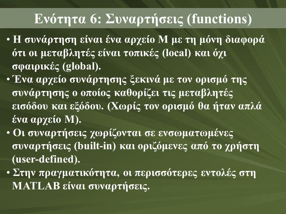 Η συνάρτηση είναι ένα αρχείο Μ με τη μόνη διαφορά ότι οι μεταβλητές είναι τοπικές (local) και όχι σφαιρικές (global).