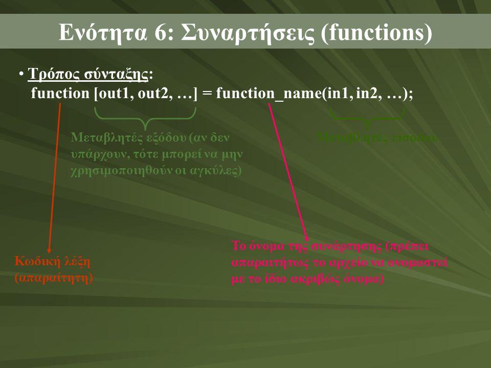 Τρόπος σύνταξης: function [out1, out2, …] = function_name(in1, in2, …); Ενότητα 6: Συναρτήσεις (functions) Κωδική λέξη (απαραίτητη) Μεταβλητές εξόδου (αν δεν υπάρχουν, τότε μπορεί να μην χρησιμοποιηθούν οι αγκύλες) Το όνομα της συνάρτησης (πρέπει απαραιτήτως το αρχείο να ονομαστεί με το ίδιο ακριβώς όνομα) Μεταβλητές εισόδου