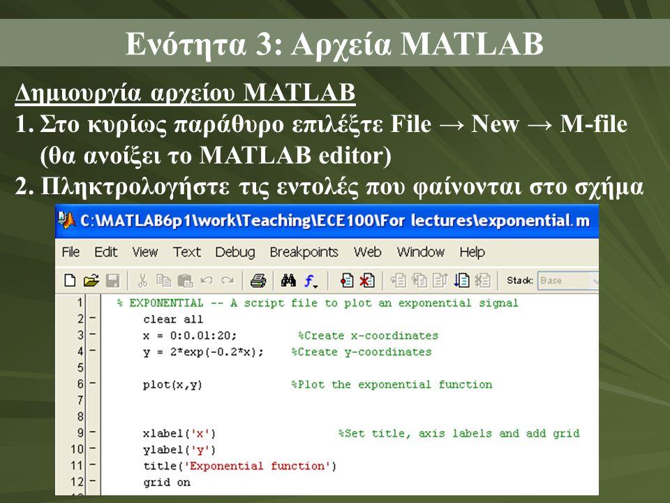 Δημιουργία αρχείου MATLAB 1.Στο κυρίως παράθυρο επιλέξτε File → New → M-file (θα ανοίξει το MATLAB editor) 2.