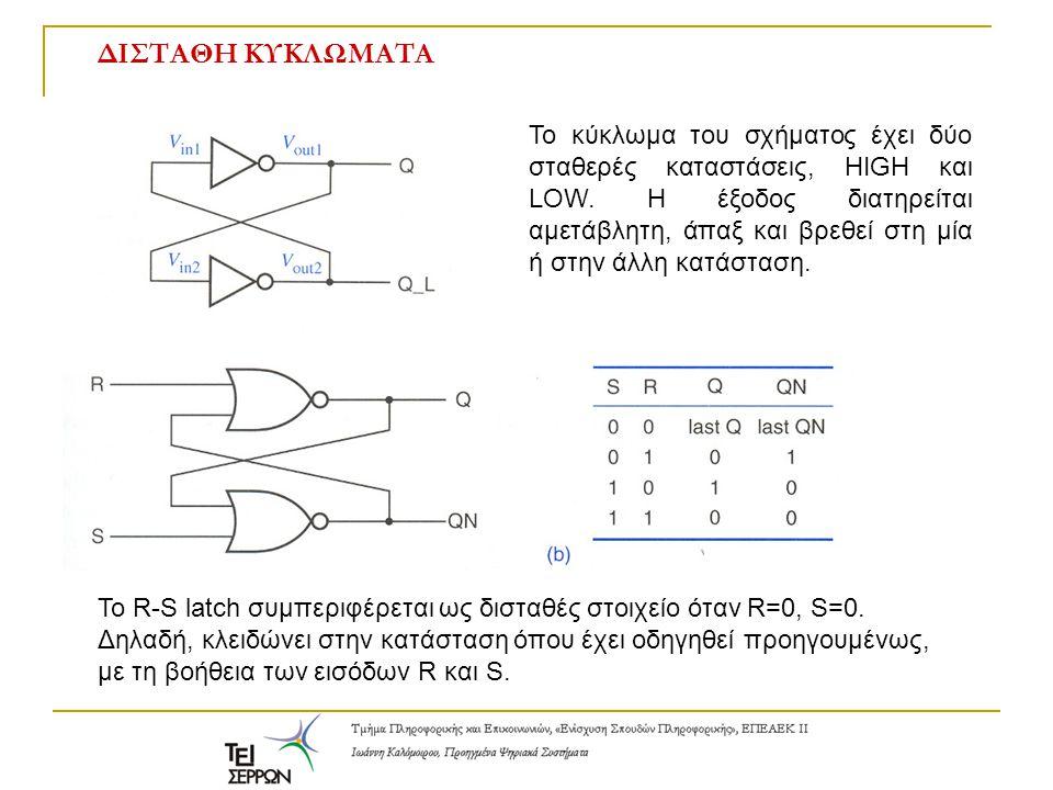 Μανδαλωτές και Flip-flops Κυκλωματικό σύμβολο για R-S latch S-bar R-bar latch με πύλες NAND και πίνακας αληθείας Latch: σαρώνει τις εισόδους και ανανεώνει τις εξόδους διαρκώς.