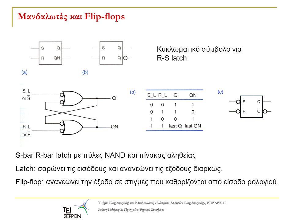 Μανδαλωτές και Flip-flops Κυκλωματικό σύμβολο για R-S latch S-bar R-bar latch με πύλες NAND και πίνακας αληθείας Latch: σαρώνει τις εισόδους και ανανε