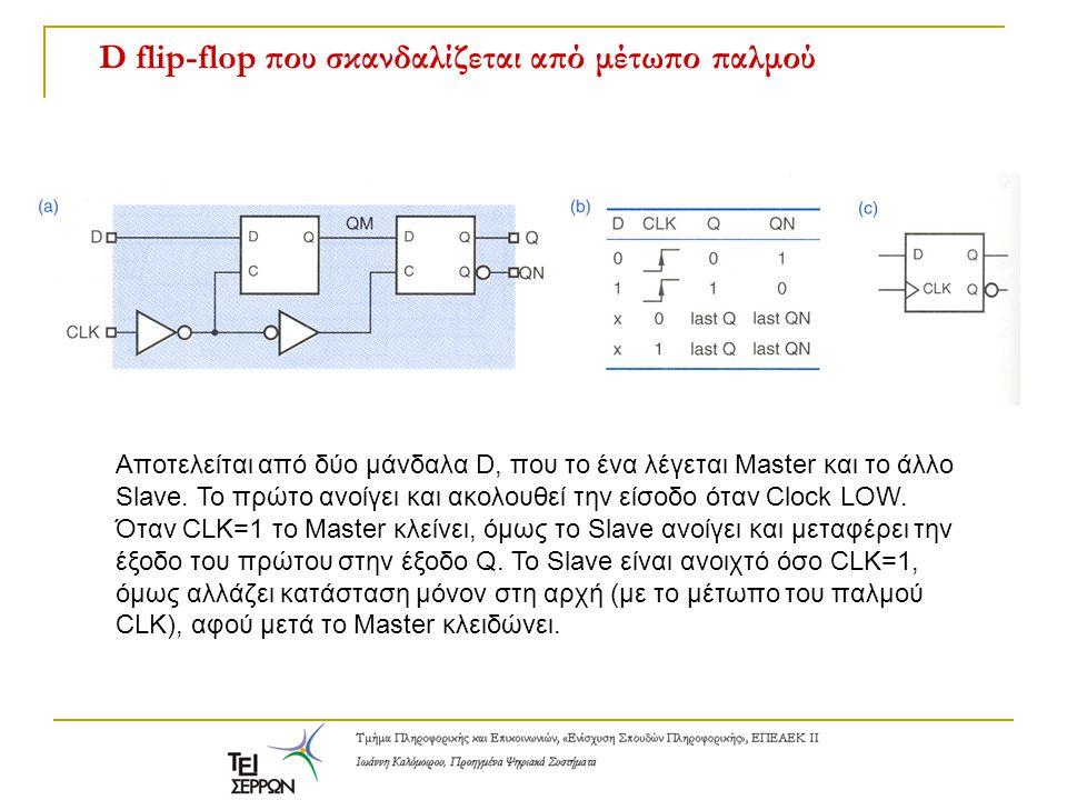 D flip-flop που σκανδαλίζεται από μέτωπο παλμού Αποτελείται από δύο μάνδαλα D, που το ένα λέγεται Master και το άλλο Slave. Το πρώτο ανοίγει και ακολο