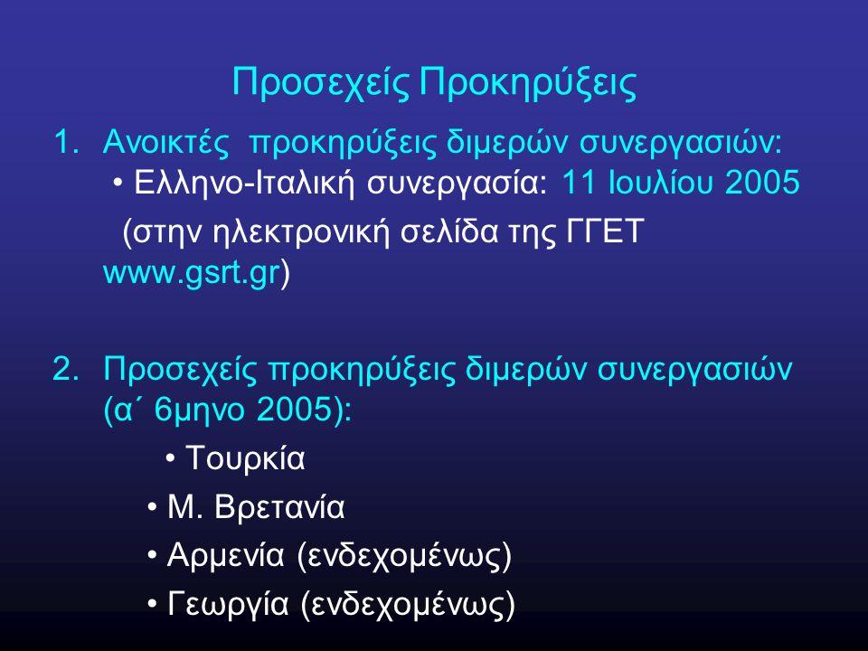 Προσεχείς Προκηρύξεις 1.Ανοικτές προκηρύξεις διμερών συνεργασιών: Ελληνο-Ιταλική συνεργασία: 11 Ιουλίου 2005 (στην ηλεκτρονική σελίδα της ΓΓΕΤ www.gsrt.gr) 2.Προσεχείς προκηρύξεις διμερών συνεργασιών (α΄ 6μηνο 2005): Τουρκία Μ.