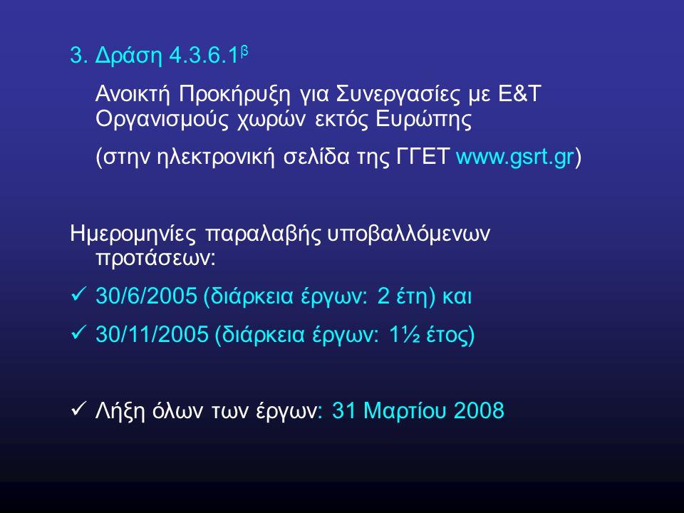 3.Δράση 4.3.6.1 β Ανοικτή Προκήρυξη για Συνεργασίες με Ε&Τ Οργανισμούς χωρών εκτός Ευρώπης (στην ηλεκτρονική σελίδα της ΓΓΕΤ www.gsrt.gr) Ημερομηνίες