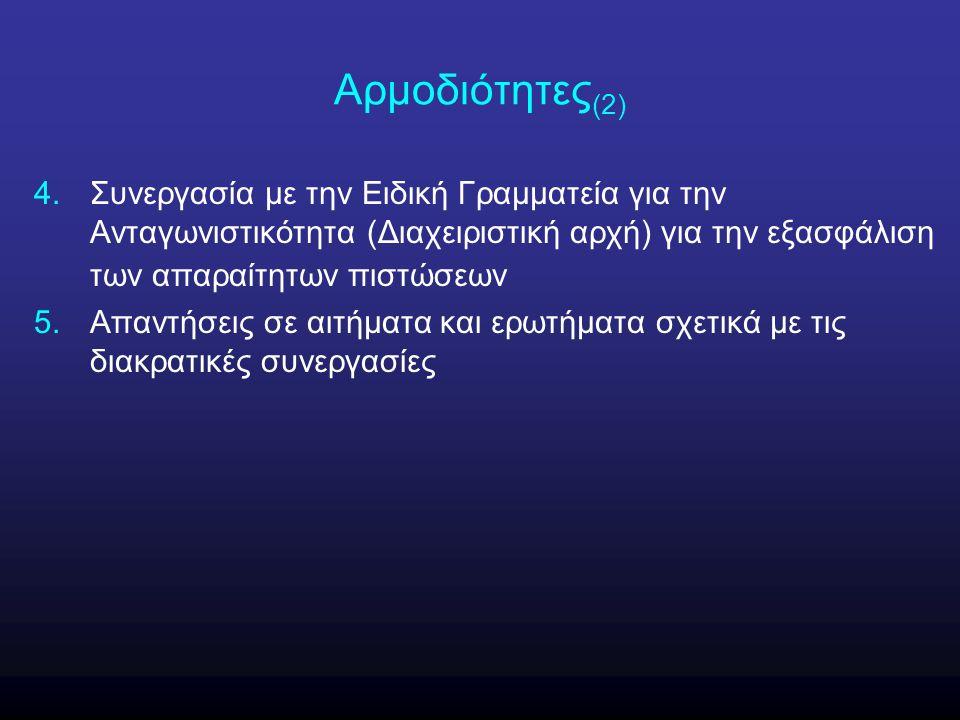 Αρμοδιότητες (2) 4.Συνεργασία με την Ειδική Γραμματεία για την Ανταγωνιστικότητα (Διαχειριστική αρχή) για την εξασφάλιση των απαραίτητων πιστώσεων 5.Α