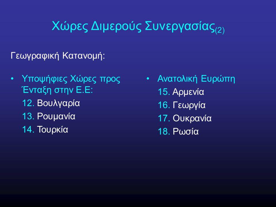 Χώρες Διμερούς Συνεργασίας (2) Γεωγραφική Κατανομή: Υποψήφιες Χώρες προς Ένταξη στην Ε.Ε: 12. Βουλγαρία 13. Ρουμανία 14. Τουρκία Ανατολική Ευρώπη 15.