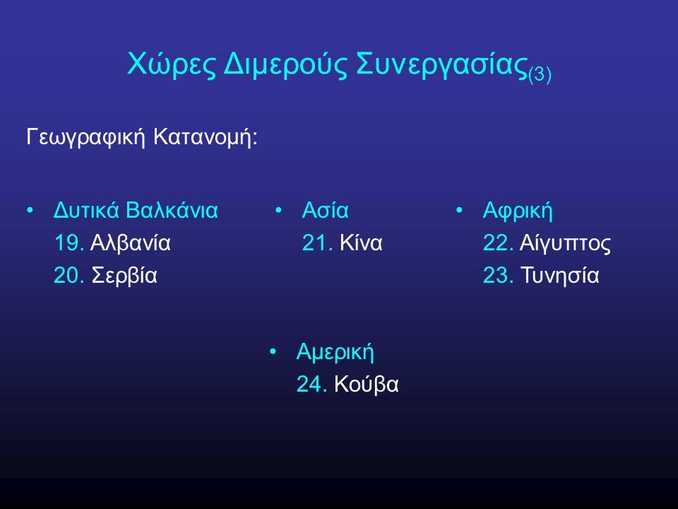 Χώρες Διμερούς Συνεργασίας (3) Γεωγραφική Κατανομή: Δυτικά Βαλκάνια 19. Αλβανία 20. Σερβία Ασία 21. Κίνα Αφρική 22. Αίγυπτος 23. Τυνησία Αμερική 24. Κ