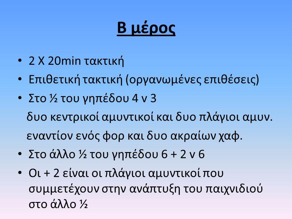 Β μέρος 2 Χ 20min τακτική Επιθετική τακτική (οργανωμένες επιθέσεις) Στο ½ του γηπέδου 4 v 3 δυο κεντρικοί αμυντικοί και δυο πλάγιοι αμυν. εναντίον ενό