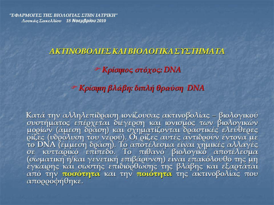 ΕΦΑΡΜΟΓΕΣ ΤΗΣ ΒΙΟΛΟΓΙΑΣ ΣΤΗΝ ΙΑΤΡΙΚΗ Λουκάς Σακελλίου 18 Νοεμβρίου 2010 Η δόση εκφράζει την ποσότητα της ακτινοβολίας που απορροφήθηκε: Δόση = (Ενέργεια που απορροφήθηκε από ακτινοβολία) / (μονάδα μάζας) Στο σύστημα μονάδων SI η δόση μετριέται σε Gy.