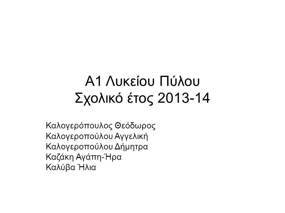 Α1 Λυκείου Πύλου Σχολικό έτος 2013-14 Καλογερόπουλος Θεόδωρος Καλογεροπούλου Αγγελική Καλογεροπούλου Δήμητρα Καζάκη Αγάπη-Ήρα Καλύβα Ήλια