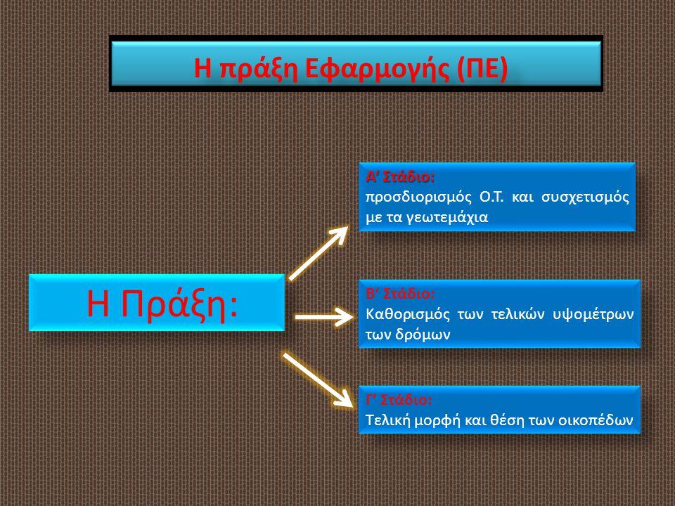 Η πράξη Εφαρμογής (ΠΕ) Α' Στάδιο: προσδιορισμός Ο.Τ. και συσχετισμός με τα γεωτεμάχια Α' Στάδιο: προσδιορισμός Ο.Τ. και συσχετισμός με τα γεωτεμάχια Β