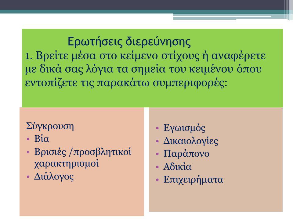 Ερωτήσεις διερεύνησης 1. Βρείτε μέσα στο κείμενο στίχους ή αναφέρετε με δικά σας λόγια τα σημεία του κειμένου όπου εντοπίζετε τις παρακάτω συμπεριφορέ