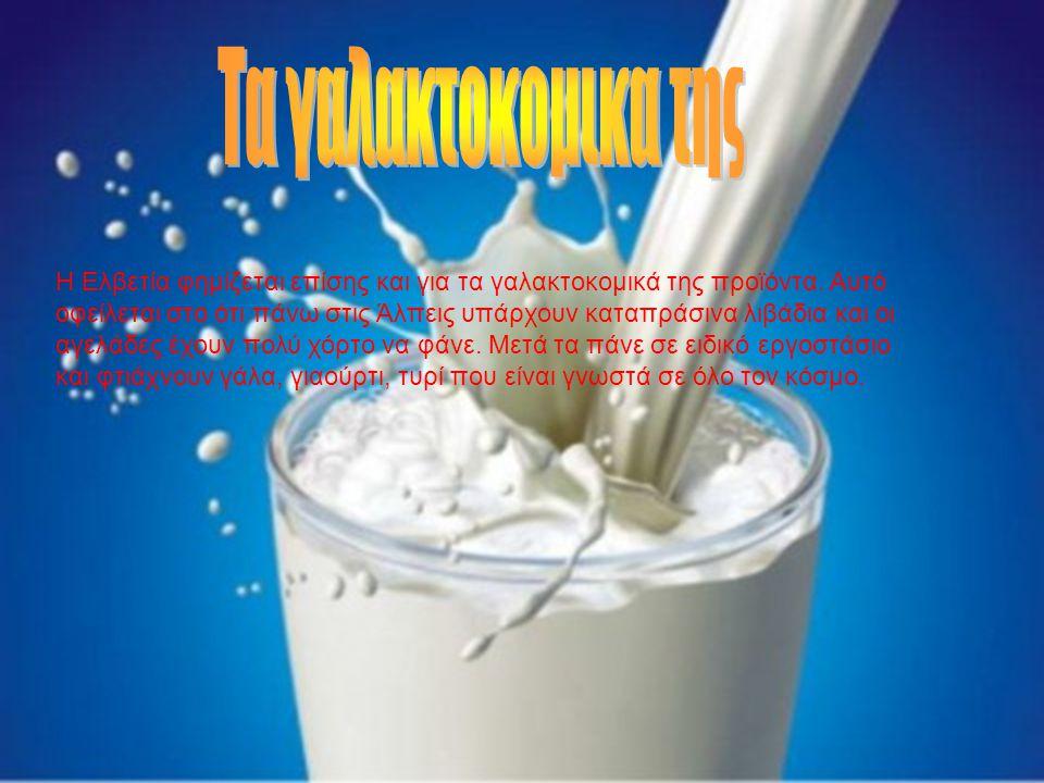 Η Ελβετία φημίζεται επίσης και για τα γαλακτοκομικά της προϊόντα. Αυτό οφείλεται στο ότι πάνω στις Άλπεις υπάρχουν καταπράσινα λιβάδια και οι αγελάδες