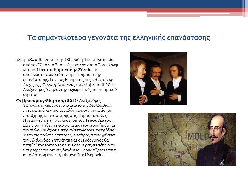 Τα σημαντικότερα γεγονότα της ελληνικής επανάστασης 1814-1820 Ιδρύεται στην Οδησσό η Φιλική Εταιρεία, από τον Νικόλαο Σκουφά, τον Αθανάσιο Τσακάλωφ και τον Πάτμιο Εμμανουήλ Ξάνθο, με αποκλειστικό σκοπό την προετοιμασία της επανάστασης.