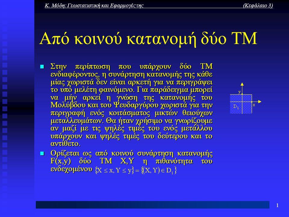 Κ. Μόδη: Γεωστατιστική και Εφαρμογές της (Κεφάλαιο 3) 1 Από κοινού κατανομή δύο ΤΜ Στην περίπτωση που υπάρχουν δύο ΤΜ ενδιαφέροντος, η συνάρτηση καταν