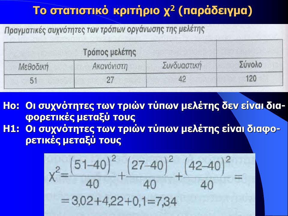 Το στατιστικό κριτήριο χ 2 (παράδειγμα) Ηο: Οι συχνότητες των τριών τύπων μελέτης δεν είναι δια- φορετικές μεταξύ τους φορετικές μεταξύ τους Η1: Οι συχνότητες των τριών τύπων μελέτης είναι διαφο- ρετικές μεταξύ τους ρετικές μεταξύ τους