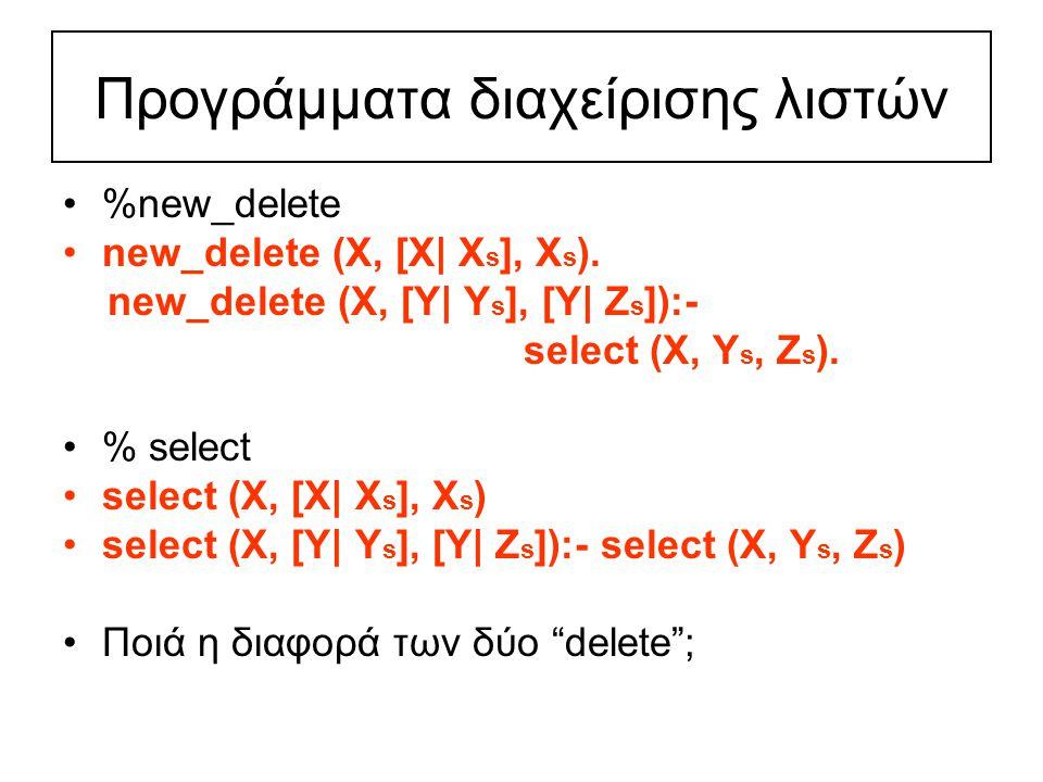 Προγράμματα διαχείρισης λιστών %new_delete new_delete (X, [X| X s ], X s ).