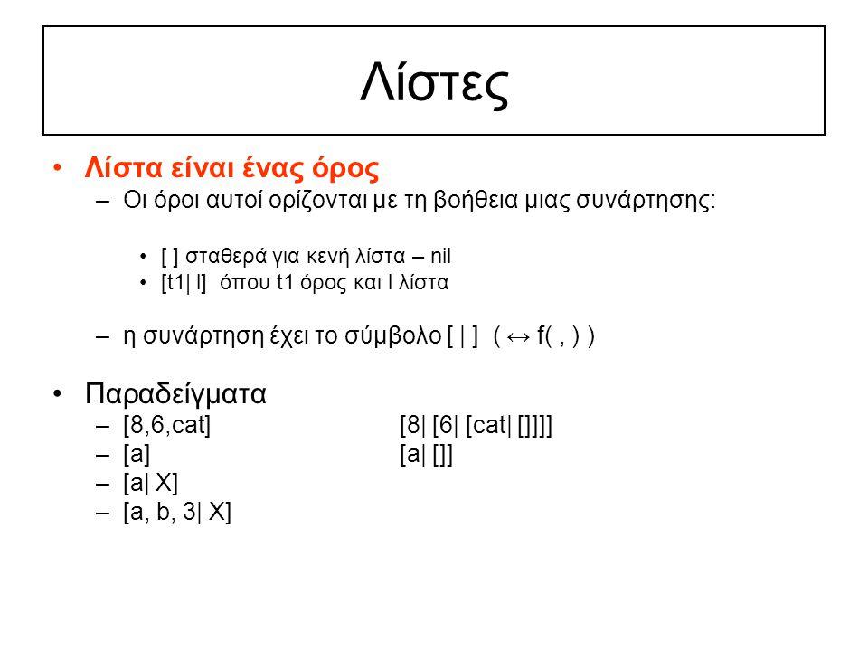 Λίστες Λίστα είναι ένας όρος –Οι όροι αυτοί ορίζονται με τη βοήθεια μιας συνάρτησης: [ ] σταθερά για κενή λίστα – nil [t1| l] όπου t1 όρος και l λίστα –η συνάρτηση έχει το σύμβολο [ | ] ( ↔ f(, ) ) Παραδείγματα –[8,6,cat][8| [6| [cat| []]]] –[a][a| []] –[a| X] –[a, b, 3| X]