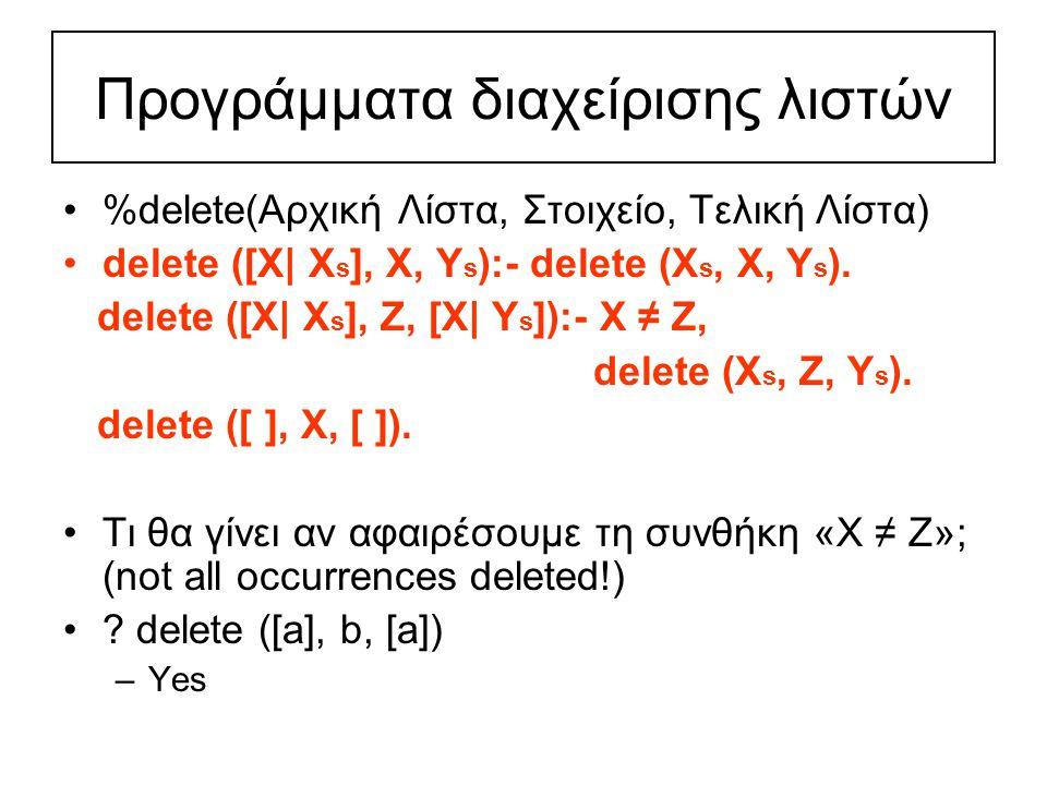 Προγράμματα διαχείρισης λιστών %delete(Αρχική Λίστα, Στοιχείο, Τελική Λίστα) delete ([X| X s ], X, Y s ):- delete (X s, X, Y s ).
