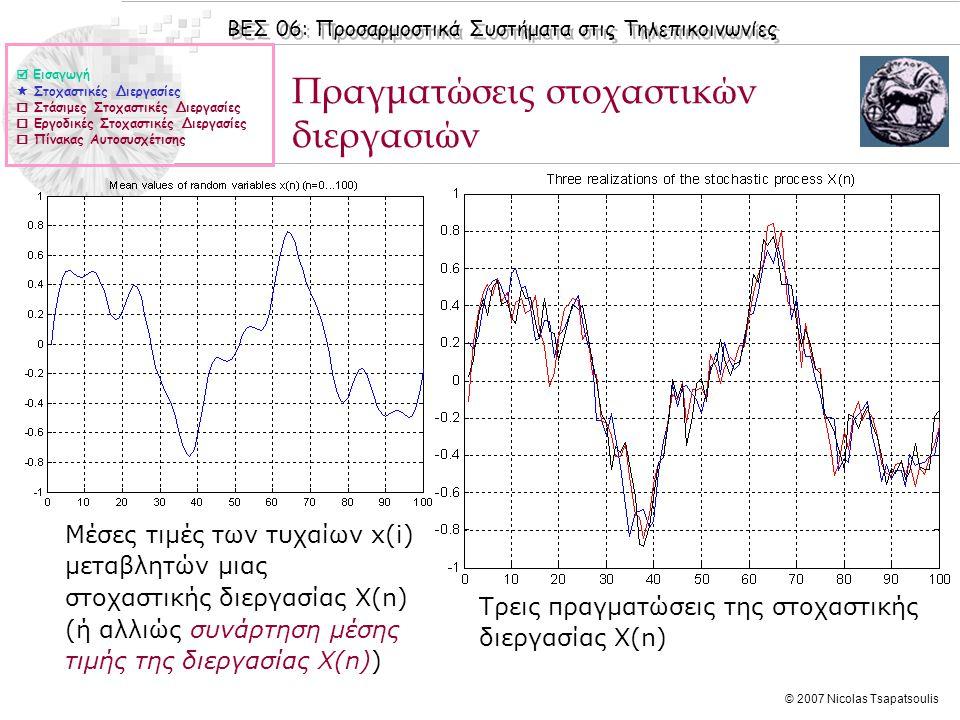 ΒΕΣ 06: Προσαρμοστικά Συστήματα στις Τηλεπικοινωνίες © 2007 Nicolas Tsapatsoulis Άσκηση (ΙΙI) 1.Έστω η στοχαστική διεργασία η οποία αντιστοιχεί σε ένα ημιτονοειδές σήμα (αe jωn ) στο οποίο έχει επιδράσει θόρυβος θ με μέση τιμή μ θ = 0 και διασπορά σ θ 2 (ο θόρυβος είναι μια στάσιμη στοχαστική διεργασία).