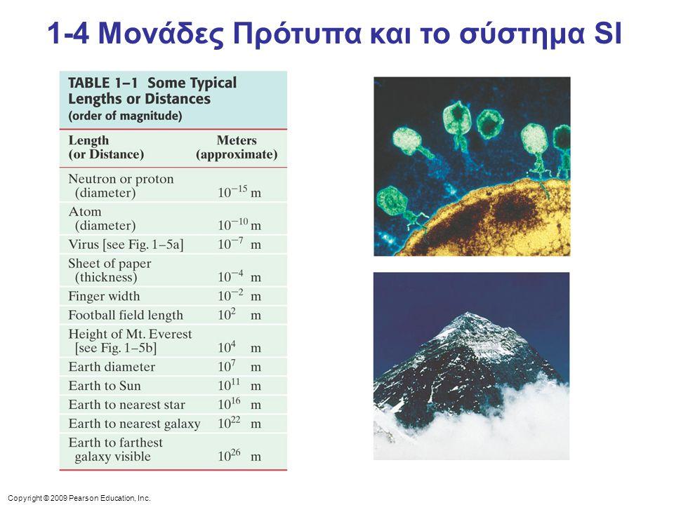 Copyright © 2009 Pearson Education, Inc. 1-4 Μονάδες Πρότυπα και το σύστημα SI