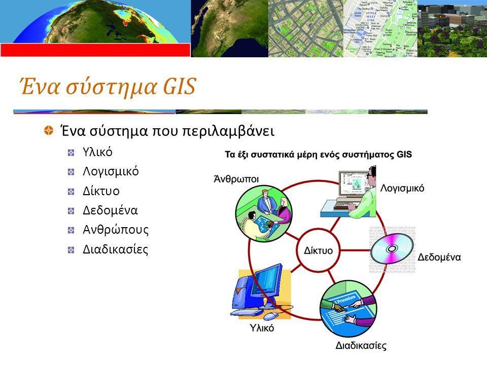 Ένα σύστημα GIS Ένα σύστημα που περιλαμβάνει Υλικό Λογισμικό Δίκτυο Δεδομένα Ανθρώπους Διαδικασίες