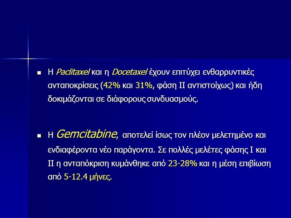 Η Paclitaxel και η Docetaxel έχουν επιτύχει ενθαρρυντικές ανταποκρίσεις (42% και 31%, φάση ΙΙ αντιστοίχως) και ήδη δοκιμάζονται σε διάφορους συνδυασμο