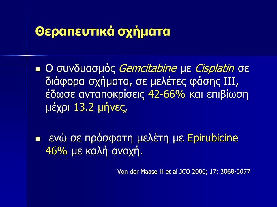 Θεραπευτικά σχήματα Ο συνδυασμός Gemcitabine με Cisplatin σε διάφορα σχήματα, σε μελέτες φάσης ΙΙI, έδωσε ανταποκρίσεις 42-66% και επιβίωση μέχρι 13.2