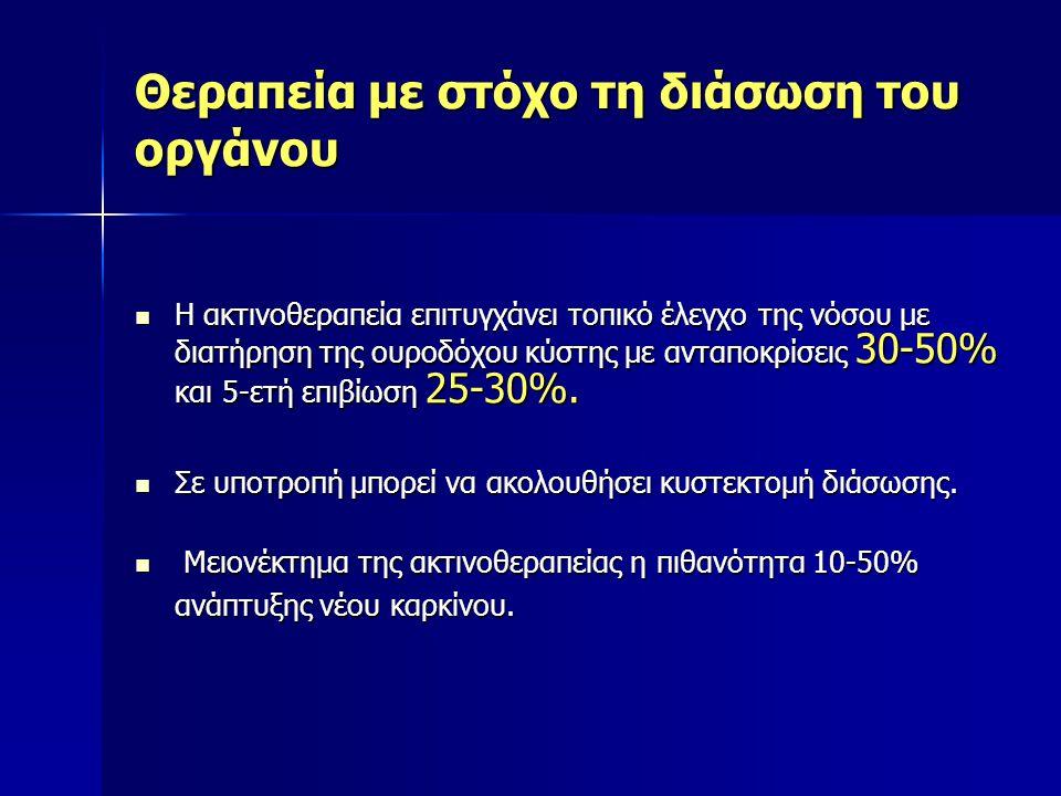 Θεραπεία με στόχο τη διάσωση του οργάνου Η ακτινοθεραπεία επιτυγχάνει τοπικό έλεγχο της νόσου με διατήρηση της ουροδόχου κύστης με ανταποκρίσεις 30-50