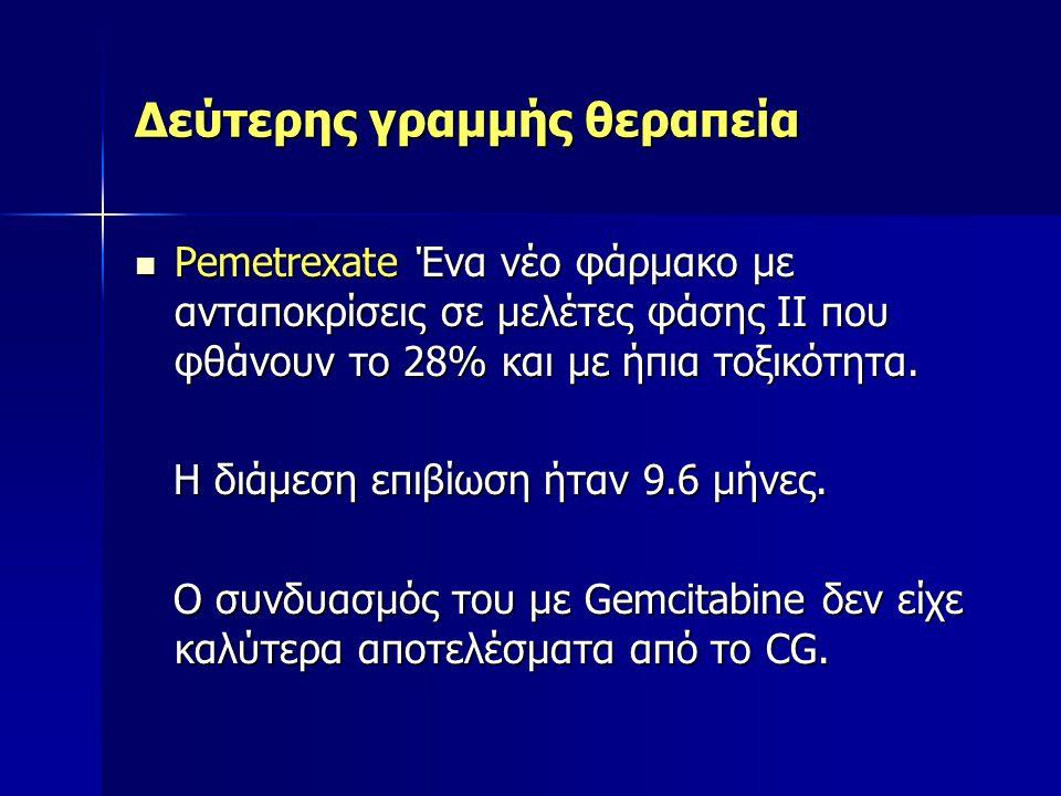 Δεύτερης γραμμής θεραπεία Pemetrexate Ένα νέο φάρμακο με ανταποκρίσεις σε μελέτες φάσης ΙΙ που φθάνουν το 28% και με ήπια τοξικότητα. Pemetrexate Ένα