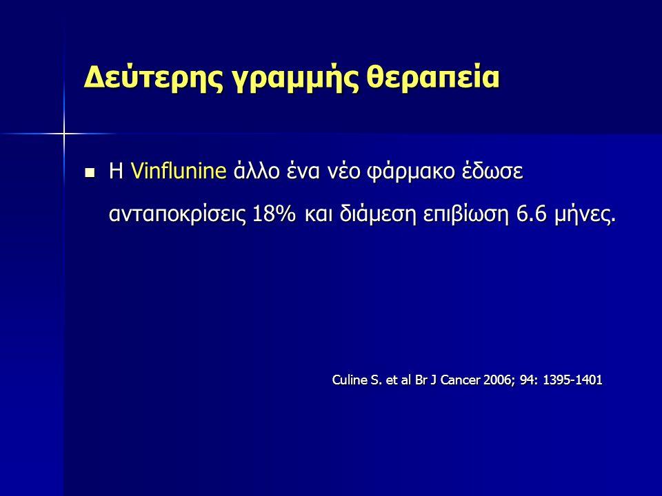 Δεύτερης γραμμής θεραπεία H Vinflunine άλλο ένα νέο φάρμακο έδωσε ανταποκρίσεις 18% και διάμεση επιβίωση 6.6 μήνες. H Vinflunine άλλο ένα νέο φάρμακο