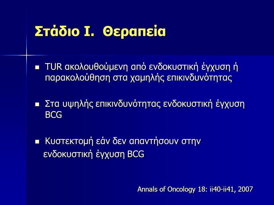 Στάδιο Ι. Θεραπεία ΤUR ακολουθούμενη από ενδοκυστική έγχυση ή παρακολούθηση στα χαμηλής επικινδυνότητας ΤUR ακολουθούμενη από ενδοκυστική έγχυση ή παρ